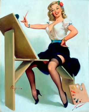 Eski Poster Kız Retro Çizim-5 Kanvas Tablo