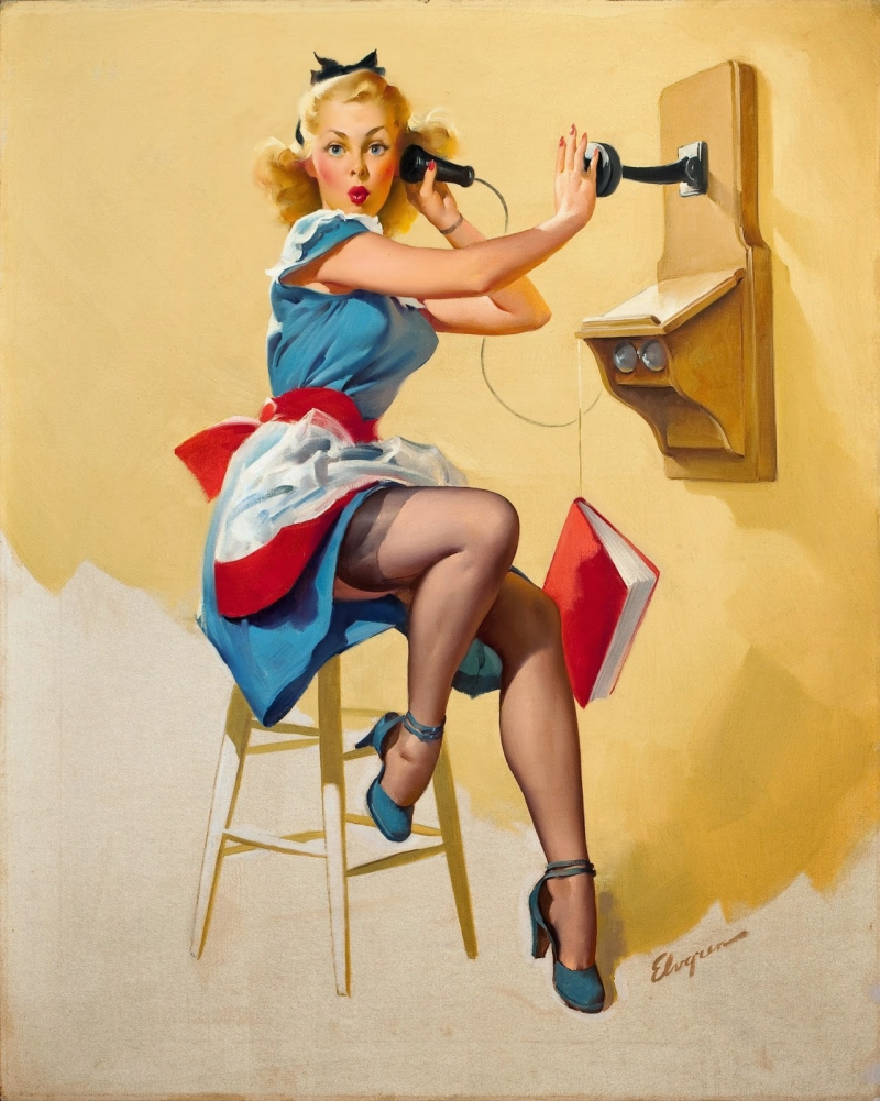Eski Poster Kız Retro Çizim-6 Kanvas Tablo