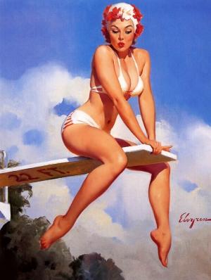 Eski Poster Kız Retro Çizim-8 Kanvas Tablo