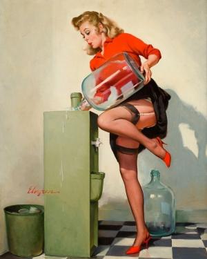 Eski Poster Kız Retro Çizim-9 Kanvas Tablo