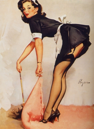 Eski Poster Kız Retro Pinup Çizim-15 Kanvas Tablo