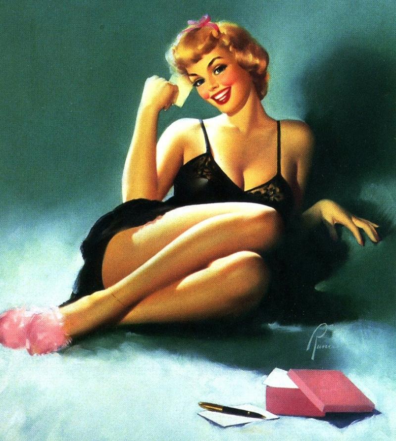 Eski Poster Kız Retro Pinup Çizim-16 Kanvas Tablo