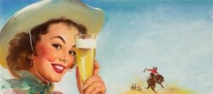 Eski Poster Kız Retro Pinup Çizim-17 Kanvas Tablo