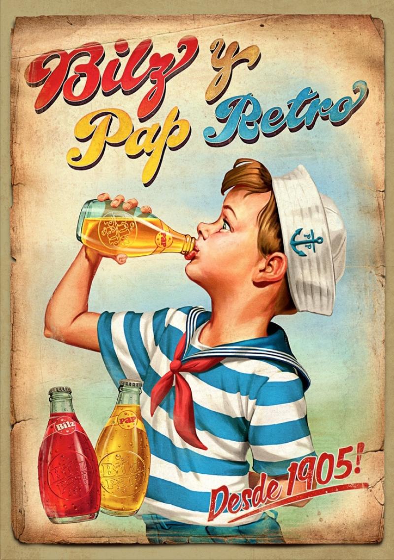 Eski Poster Kola Çocuk Retro Çizim Kanvas Tablo