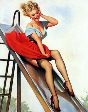 Eski Poster Pinup Kız Retro Çizim-3 Kanvas Tablo