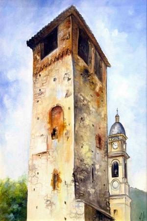 Eski Saat Kulesi İtalya Dekoratif Kanvas Tablo