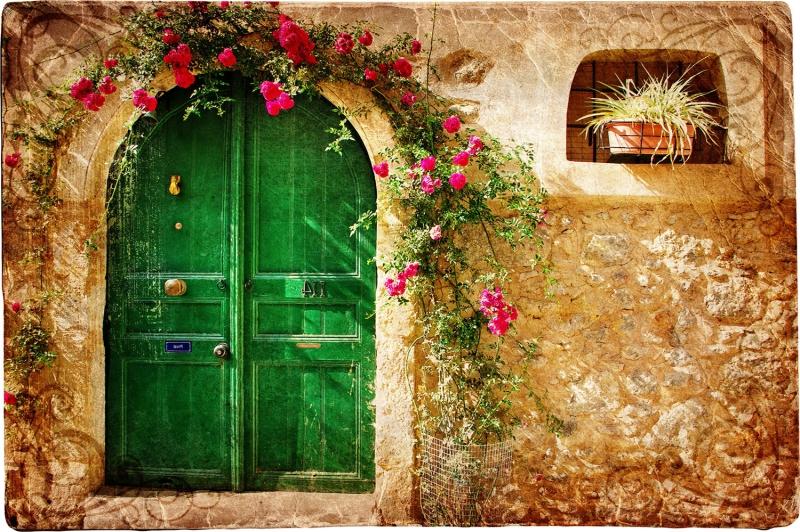 Eski Şehir, Taş Ev, Eski Tip Kapı Fotoğraf Kanvas Tablo