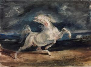 Eugene Delacroix Şimşekten Korkan At Yağlı Boya Klasik Sanat Kanvas Tablo