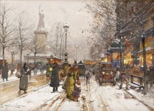 Eugene Galien Laloue 1 Cumhuriyet Meydanı Klasik Yağlı Boya Sanat Kanvas Tablo