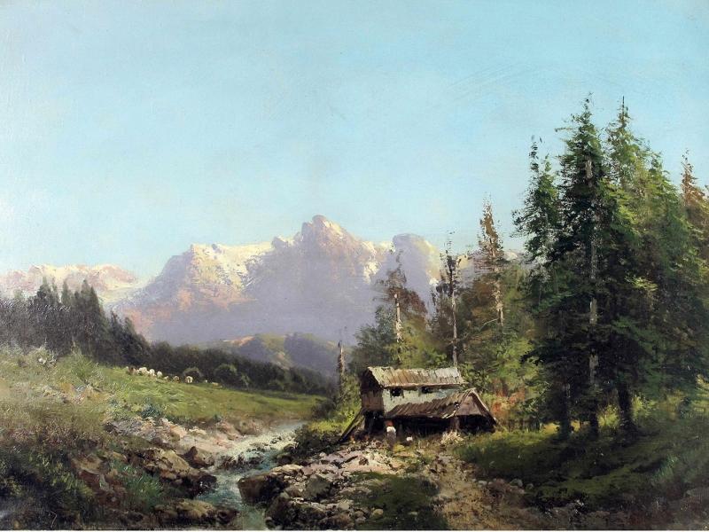 Eugenio Amus Dağ Doğa Manzarası Yağlı Boya Klasik Sanat Kanvas Tablo