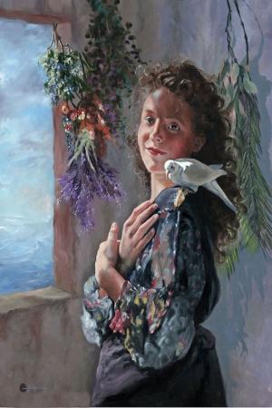 Evcil Kuş ve Küçük Kız Portre Dekoratif Kanvas Tablo