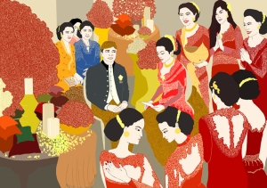 Evlilik İllustrasyon Popüler Kültür Kanvas Tablo