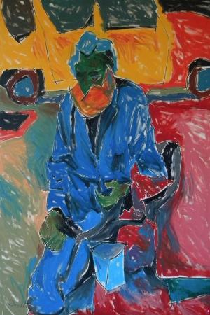 Evsiz Adam Portresi Sanat Kanvas Tablo