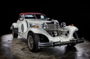 Excalibur Klasik Otomobil Beyaz Kanvas Tablo