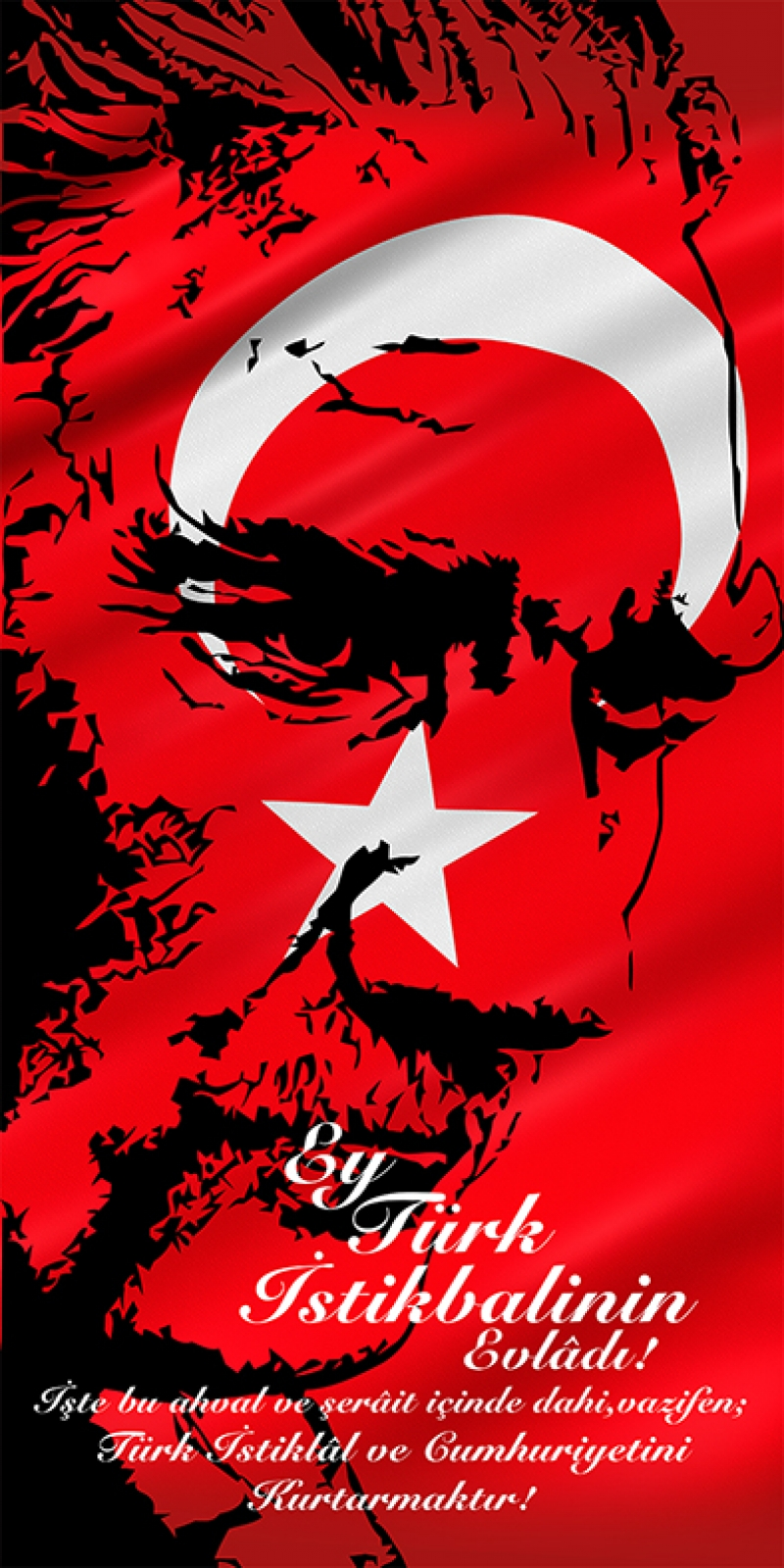 Ey Türk İstikbalinin Evladı Atatürk Unique Kanvas Tablo