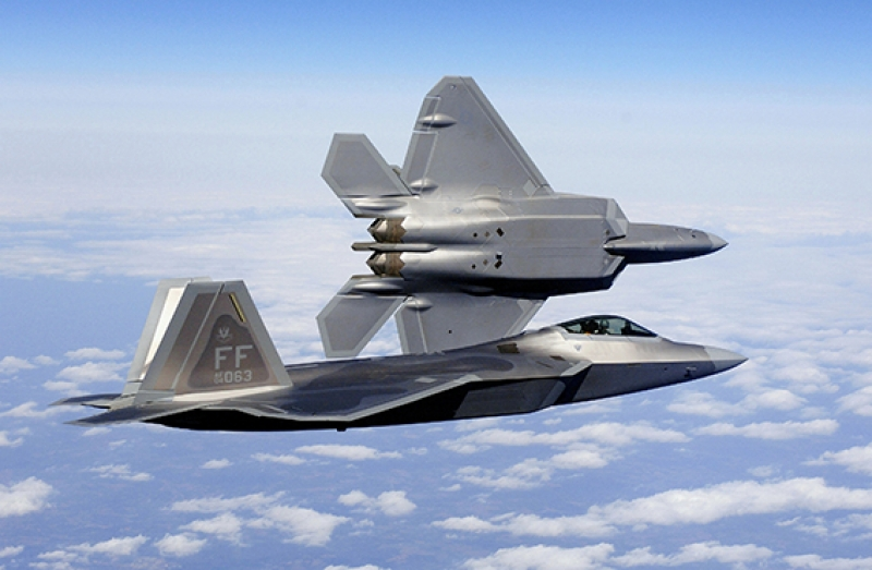 F22 Jet Savaş Uçak Askeri 3 Kanvas Tablo
