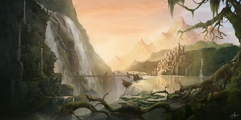 Fantastik Doğa Manzarası Yağlı Boya Sanat Kanvas Tablo