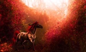 Fantastik Kırmızı At Hayvanlar Kanvas Tablo