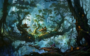 Fantastik Manzara 3 Abstract Dijital ve Fantastik Kanvas Tablo