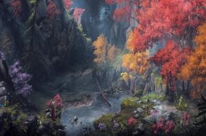 Fantastik Manzara Orman Göl Kanvas Tablo