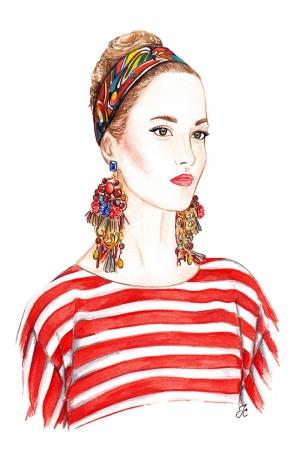 Fashion Moda-282 İllustrasyon Çizim Sanatsal Modern Dekorasyon Kanvas Tabloları