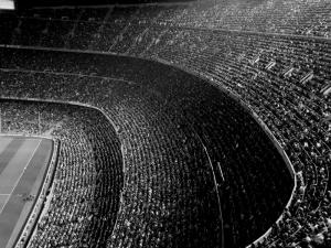 FC Barcelona Nou Camp Stadyum Siyah Beyaz Kanvas Tablo