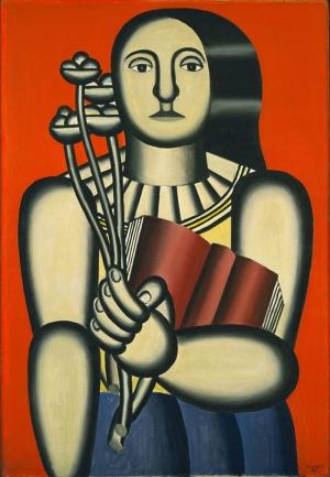 Fernand Leger Kitaplı Kadın Soyut Yağlı Boya Klasik Sanat Canvas Tablo
