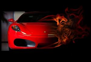 Ferrari Kırmızı Spor Otomobil Alevler İçinde Kanvas Tablo