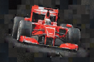 Ferrari Scuderia Formula-1 Mozaik İllustrasyon Kanvas Tablo