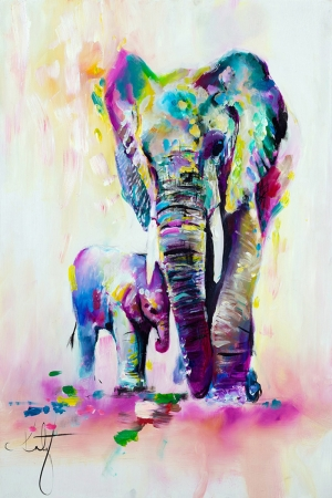 Fil-1 Yavru Fil Ve Annesi Hayvanlar Modern Sanat Kanvas Tablo
