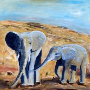 Fil Yavrusu ve Annesi Yagli Boya Sanat Dekoratif Kanvas Tablo