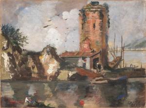 Filippo De Pisis Kırmızı Kule Yağlı Boya Klasik Sanat Kanvas Tablo
