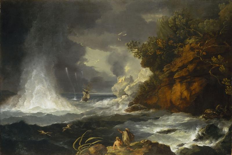 Fırtınalı Deniz Tekneler 3 Yağlı Boya Sanat Kanvas Tablo