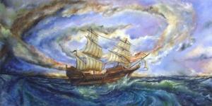 Fırtınalı Deniz Tekneler 7 Yağlı Boya Sanat Kanvas Tablo