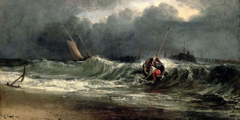 Fırtınalı Deniz Tekneler 8 Balıkçılar Yağlı Boya Sanat Kanvas Tablo