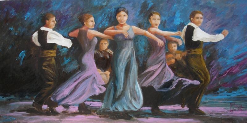 Flamenco Dans Yağlı Boya Sanat Kanvas Tablo