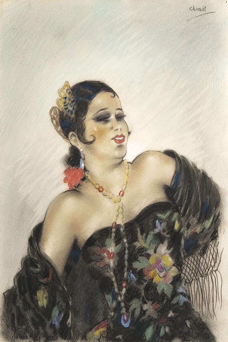 Flamenco Dansçı Genç İspanyol Kadın Edouard Chimot Klasik Sanat Kanvas Tablo