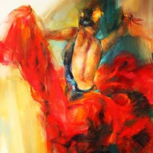 Flamenko Çingene Dansçı Kız Kanvas Tablo