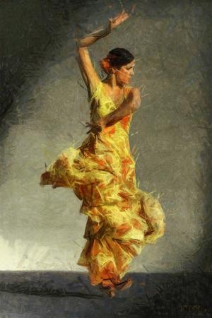 Flamenko Dansçı Kadın-24, Modern Sanat Kanvas Tablo