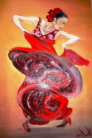 Flamenko Dansçı Kadın-25, Modern Sanat Kanvas Tablo