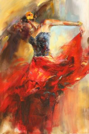 Flamenko Dansçı Kadın-27, Modern Sanat Kanvas Tablo