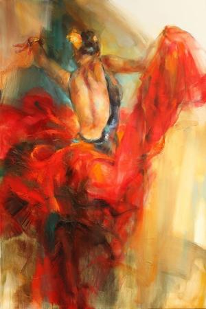 Flamenko Dansçı Kadın-28, Modern Sanat Kanvas Tablo