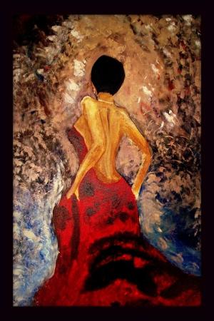 Flamenko Dansçı Kadın-30, Modern Sanat Kanvas Tablo