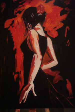 Flamenko Dansçı Kadın-33, Modern Sanat Kanvas Tablo