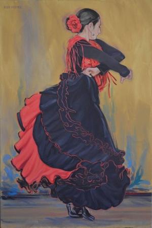 Flamenko Dansçı Kadın-35, Modern Sanat Kanvas Tablo