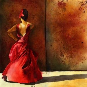 Flamenko Dansçı Kadın Modern 29 Sanat Kanvas Tablo