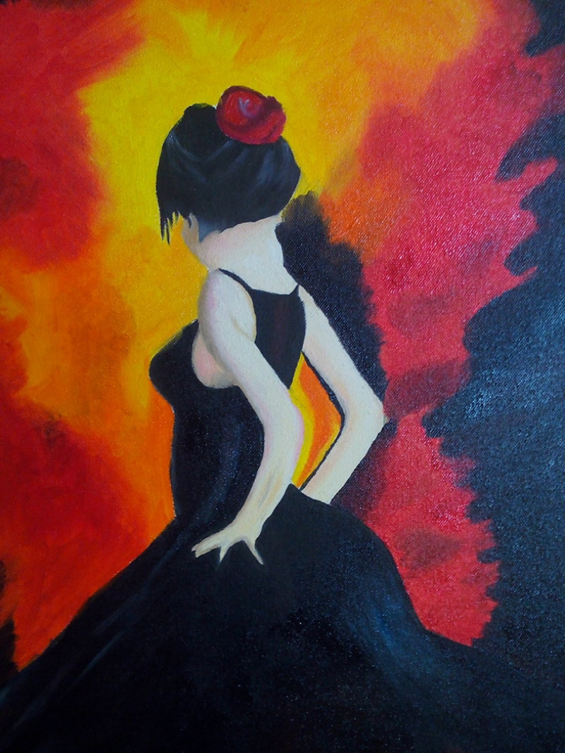 Flamenko Danscısı Yağlı Boya Sanat Kanvas Tablo