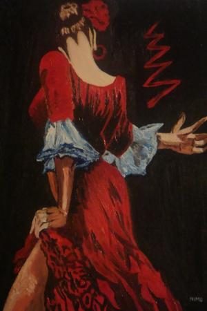Flamenko Kadın Dansçı, Dans Eden Kadın 1 Dekoratif Kanvas Tablo