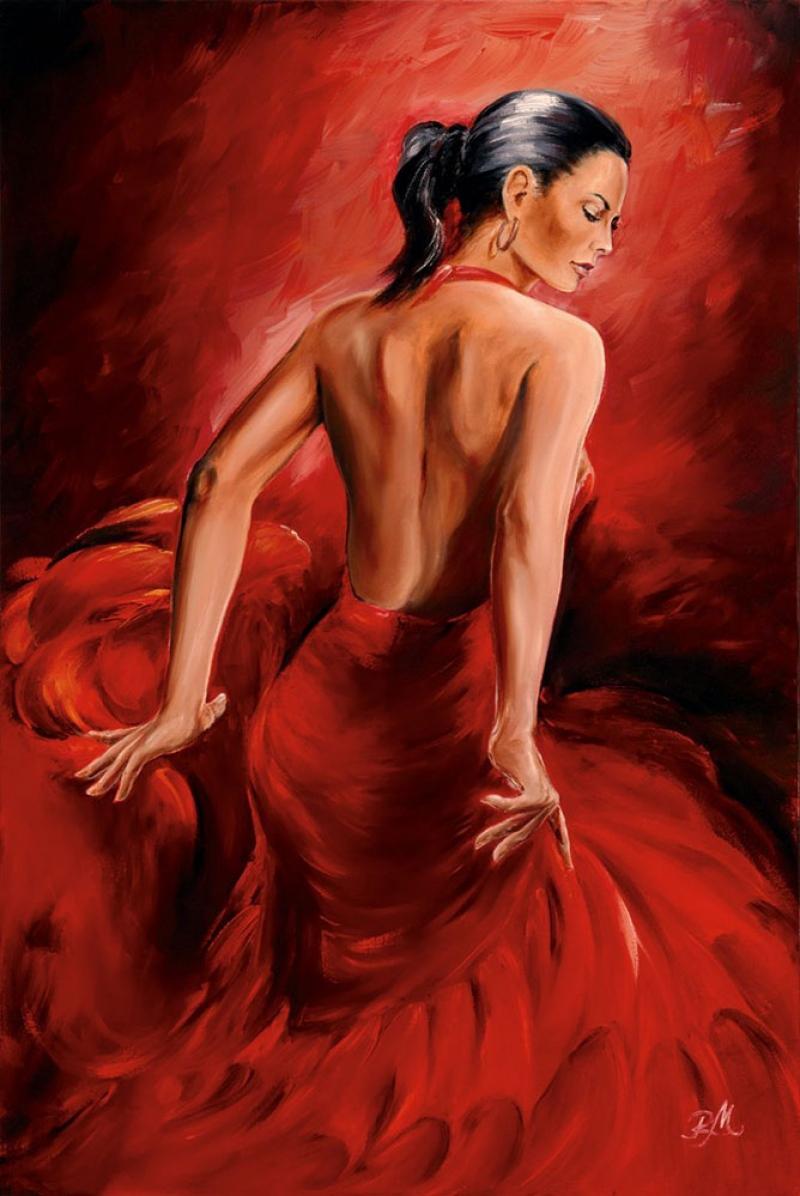 Flamenko Kadın Dansçı, Dans Eden Kadın 2 Dekoratif Kanvas Tablo