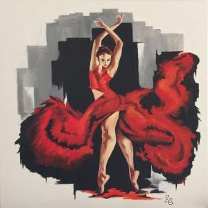 Flamenko Kadın Dansçı, Dans Eden Kadın 3 Dekoratif Kanvas Tablo